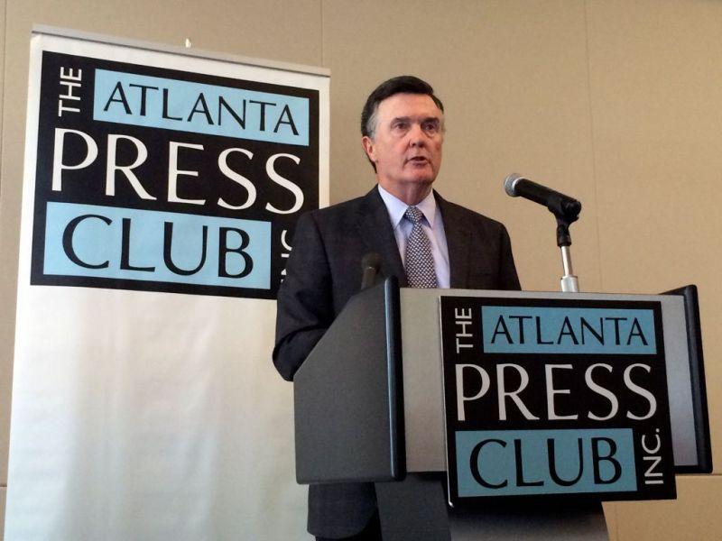 Dennis Lockhart, president and chief executive officer of the Federal Reserve Bank of Atlanta, speaks at a luncheon hosted by the Atlanta Press Club in Atlanta, Georgia, U.S., on Monday, Aug. 10, 2015. Lockhart said the U.S. economy has made enough progress to warrant raising interest rates soon, even if incoming economic indicators are mixed. Photographer: Chris Rank/Bloomberg via Getty Images